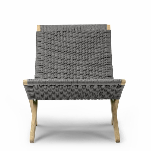 Carl Hansen & Son MG501T Outdoor Cuba Chair, Teak Untreated, Flat-Weave Rope