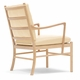 Carl Hansen & Son OW149 Colonial Chair & Footstool Set, Oak White Oil, Hand-Cane Seat, Thor 300 Leather Cushions