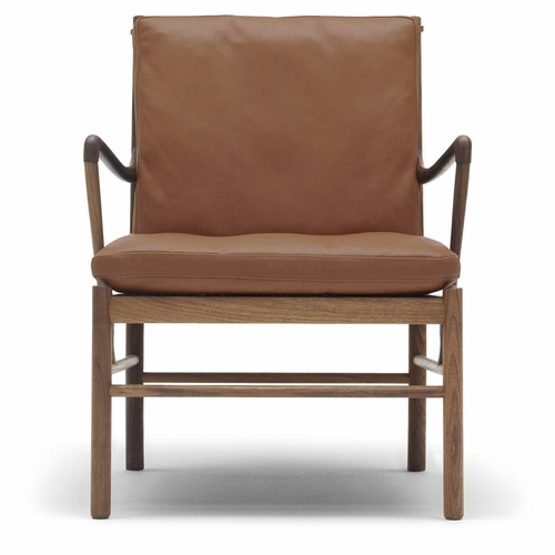 Carl Hansen & Son OW149 Colonial Chair, Walnut Oil, Hand-Cane Seat, Thor 307 Leather Cushions