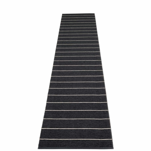 Pappelina Carl Plastic Rug - Black with Reverse in Charcoal, Stripes in Vanilla, 2 1/4' x 11 1/2'