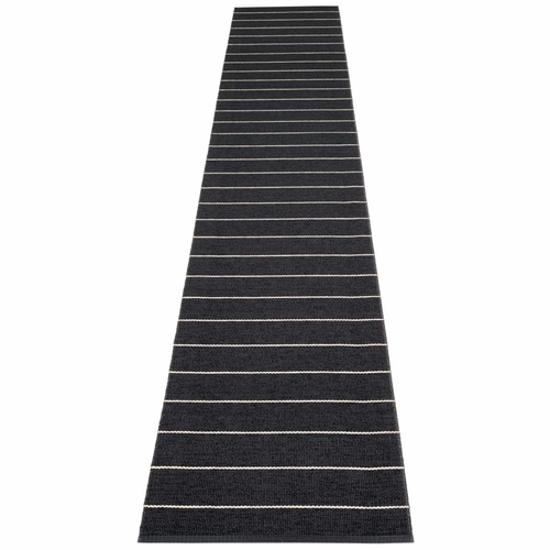 Pappelina Carl Plastic Rug - Black with Reverse in Charcoal, Stripes in Vanilla, 2 1/4' x 14 3/4'