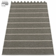 Pappelina Carl Plastic Rug - Black with Reverse in Charcoal, Stripes in Vanilla, 2 1/4' x 3'