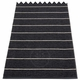 Pappelina Carl Plastic Rug - Black with Reverse in Charcoal, Stripes in Vanilla, 2 1/4' x 8 3/4'