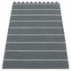 "Pappelina Carl Plastic Rug - Granite with Reverse in Storm, Stripes in Vanilla, 27"" x 138"""