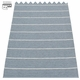 Pappelina Carl Plastic Rug - Granite with Reverse in Storm, Stripes in Vanilla, 2 1/4' x 8 1/2'