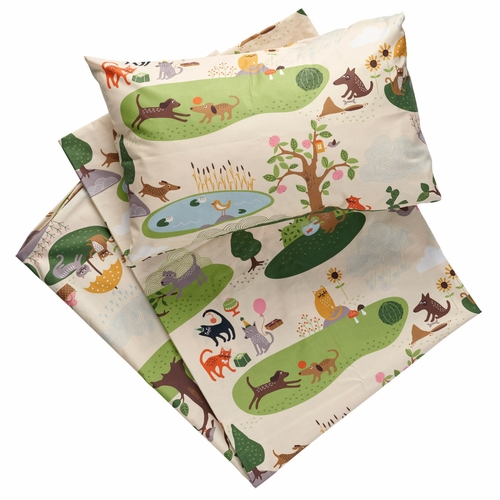 Cats and Dogs Crib Sheet and Pillow Case Set