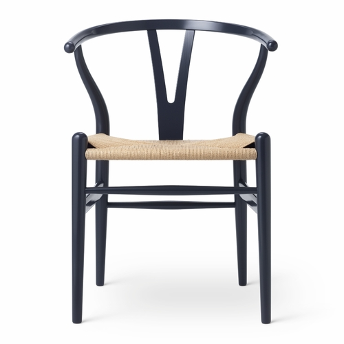 CH24 Wishbone Chair, Midnight Blue, Natural Paper Cord Seat