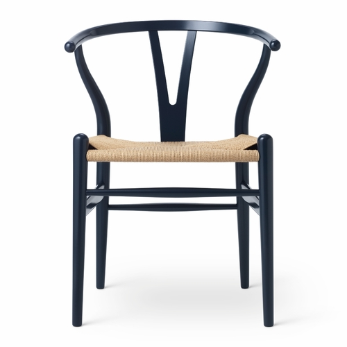 CH24 Wishbone Chair, Navy Blue, Natural Paper Cord Seat