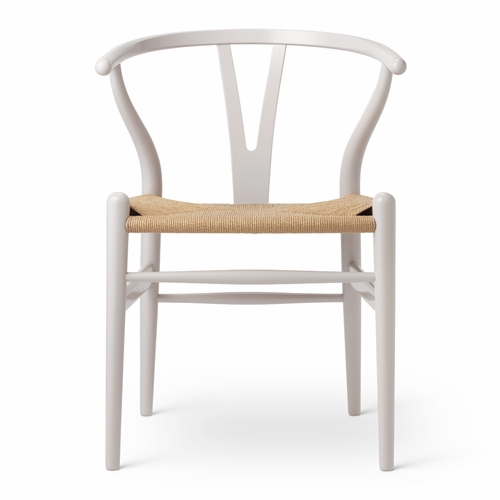 CH24 Wishbone Chair, Oyster Grey, Natural Paper Cord Seat