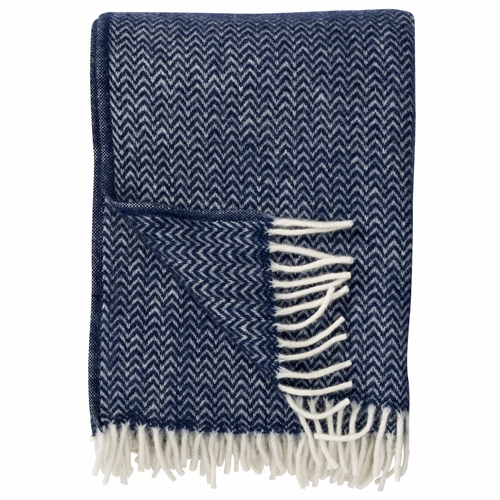 Chevron Brushed ECO Lambs Wool Throw, Dark Denim