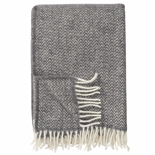 Klippan Chevron Brushed ECO Lambs Wool Throw, Grey
