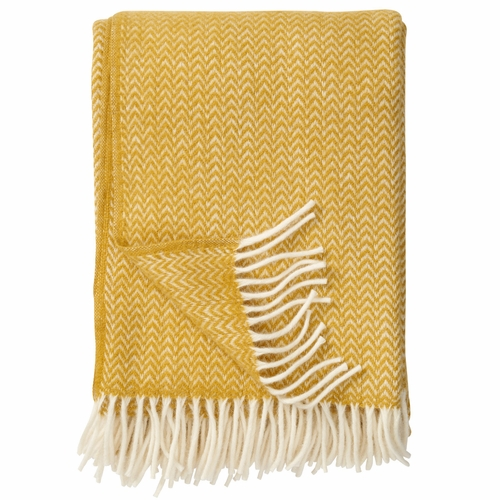 Chevron Brushed ECO Lambs Wool Throw, Yellow