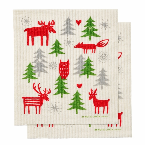 Christmas Forest Dishcloth, Set of 2