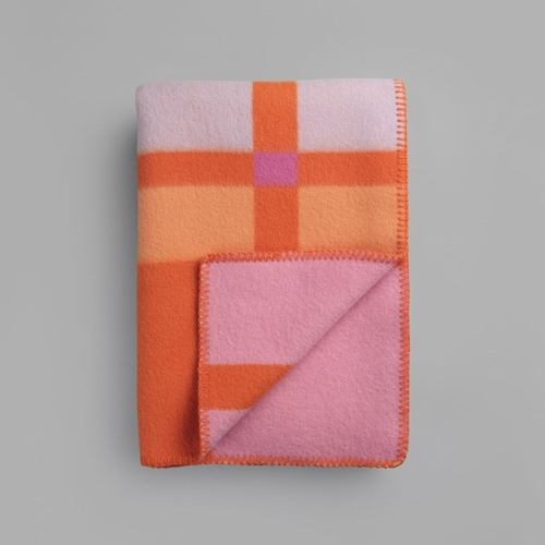 "Roros Tweed City Wool Blanket, Orange - 53"" x 79"""
