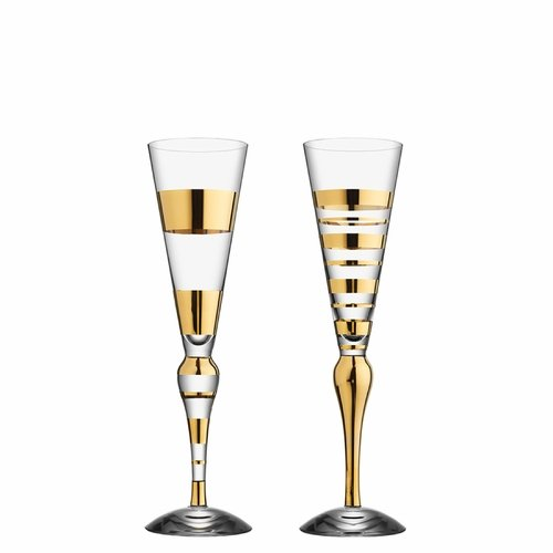 Orrefors Clown Champagne Pair, Gold