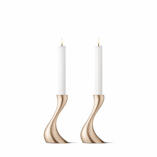 Georg Jensen Cobra Small Candleholder, Rose Gold Plated, 2 Pieces