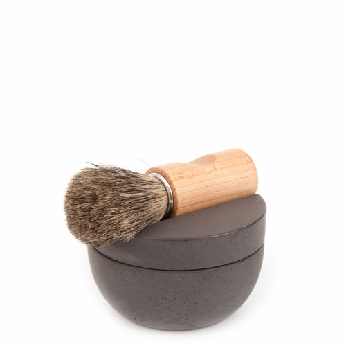 Iris Hantverk Dark Gray Concrete Shaving Cup Set - Beech with Badger Hair Brush & Soap