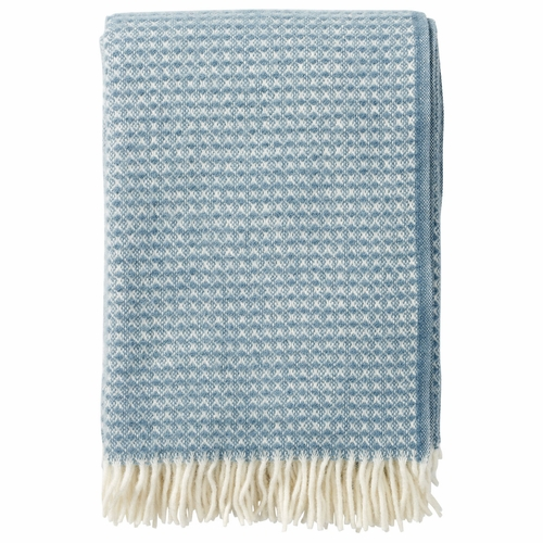 Klippan Diamonds Brushed ECO Lambs Wool Throw, Bluestone