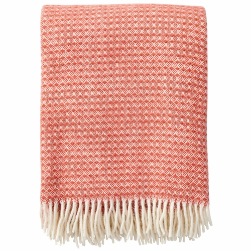 Klippan Diamonds Brushed ECO Lambs Wool Throw, Blush