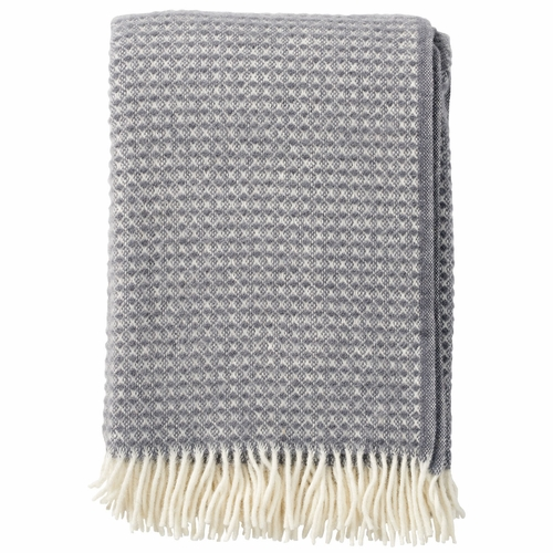 Klippan Diamonds Brushed ECO Lambs Wool Throw, Warm Grey