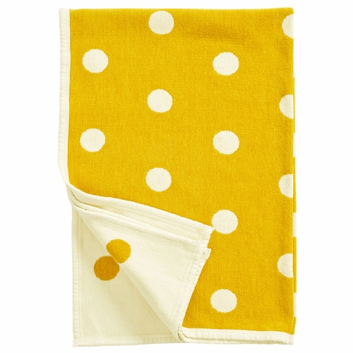 Klippan Dots Organic Cotton Chenille Children's Blanket, Yellow