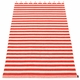 Pappelina Duo Plastic Rug - Coral Red/Vanilla, 2 3/4' x 8 1/2'