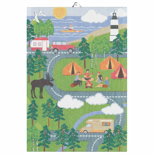 Ekelund Weavers Camping Map South Tea Towel, 14 X 20 Inches