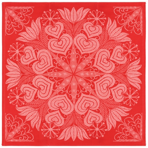 Ekelund Weavers Hjartbo Table Square, Red - 32 x 32 inches