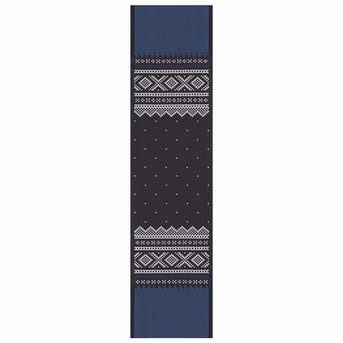 Ekelund Weavers Marius Table Runner, Blue/Black , 14 X 55 Inches