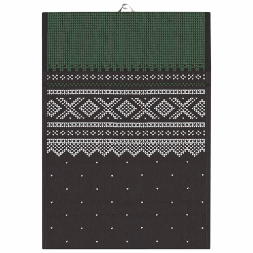 Ekelund Weavers Marius Tea Towel, Green/Black , 19 X 27 Inches
