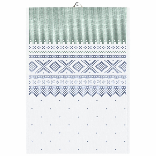 Ekelund Weavers Marius Tea Towel, Green/Blue , 19 X 27 Inches