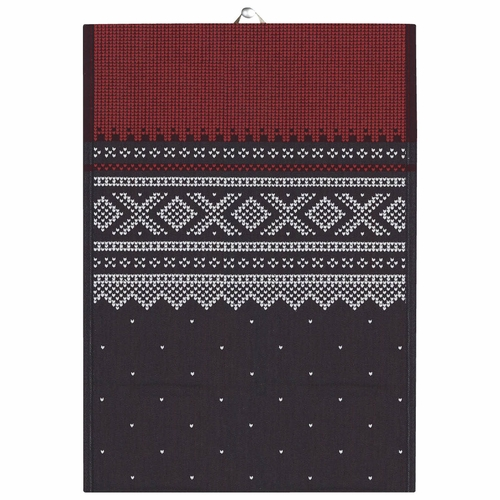 Ekelund Weavers Marius Tea Towel, Red/Black , 19 X 27 Inches
