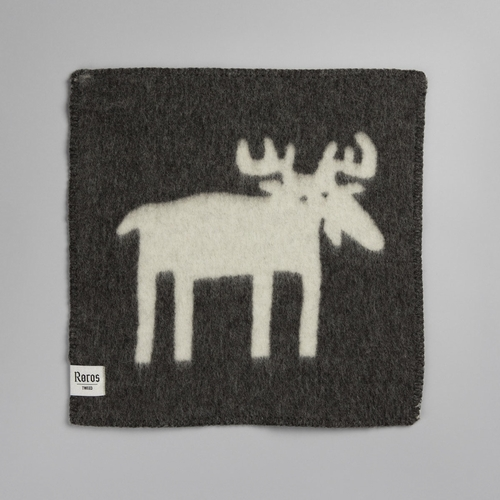 "Roros Tweed Elg (Moose) Wool Seating Pad, Grey/Natural - 18"" x 18"""