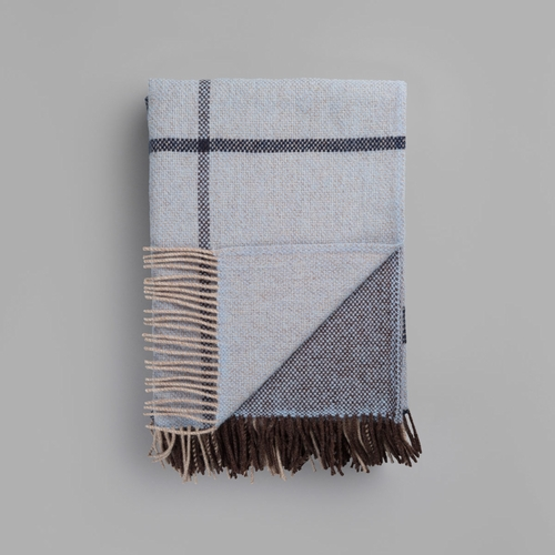 "Roros Tweed Filos Wool Blanket with Fringes, Blue - 55"" x 87"""