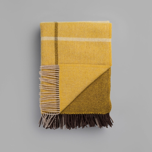 "Roros Tweed Filos Wool Blanket with Fringes, Yellow - 55"" x 87"""