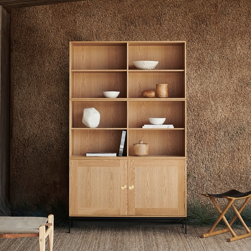 FK63 Cabinet and Two Deep Bookcases, Oak