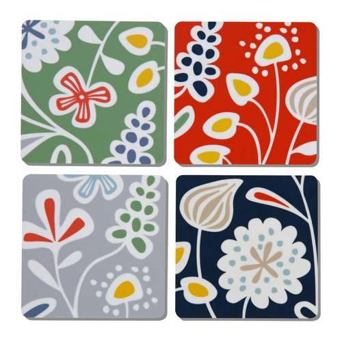 Flower Meadow Coasters, Set of 4