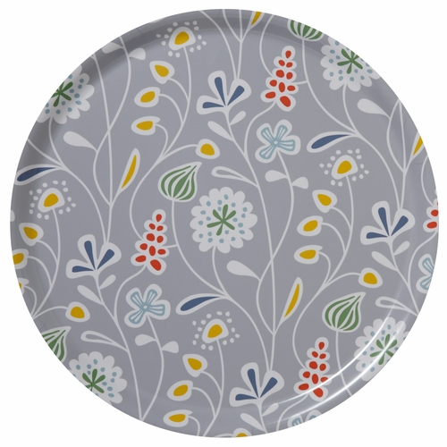 Flower Meadow Large Round Tray, Grey