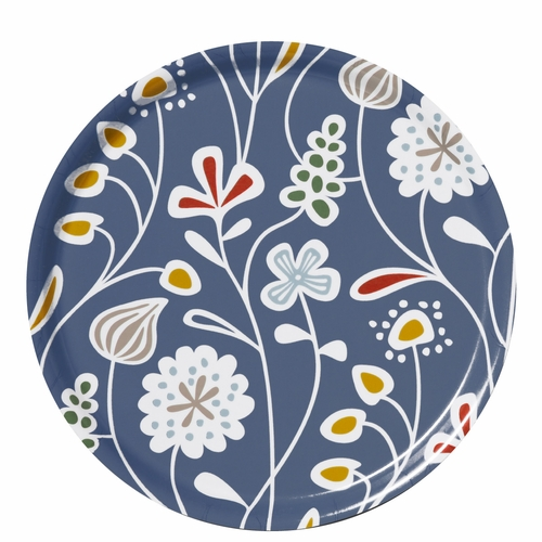 Flower Meadow Round Tray, Blue