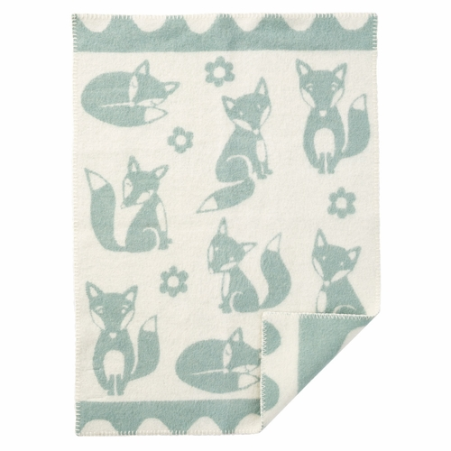 Fox ECO Lambs Wool Baby Blanket, Duck Egg Blue