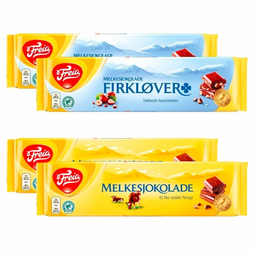 Freia Firklover (Hazelnut) Bar & Melkesjokolade Bar, Set of 4