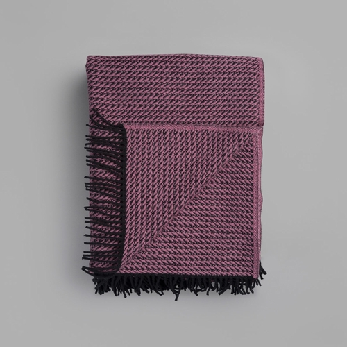 "Roros Tweed Frogner Wool Blanket with Fringes, Heather - 55"" x 87"""