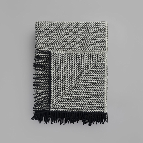 """Frogner Wool Blanket with Fringes, Natur - 55"""" x 87"""""""