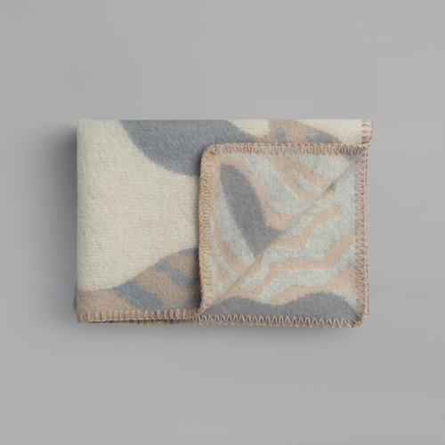 "Roros Tweed Fugl Og Fisk Wool Baby Blanket, Grey/Beige - 26"" x 39"""