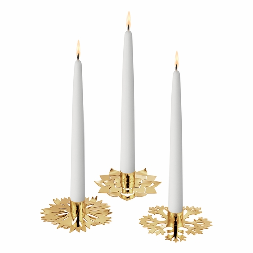 Georg Jensen 2020 Christmas Ice Flower Candleholder, Set of 3 - Gold Plated