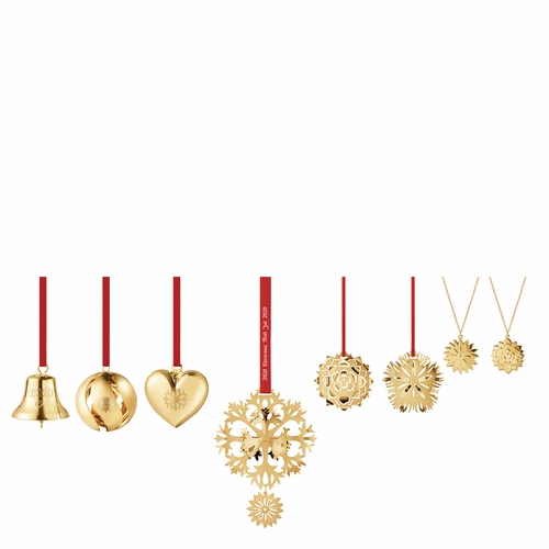 Georg Jensen 2020 Christmas Ornaments Gift Set of 8 - Gold Plated