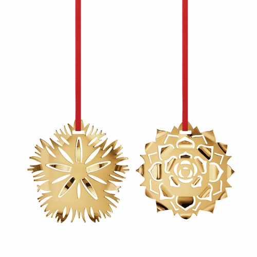 Georg Jensen 2020 Christmas Ornaments Ice Dianthus & Rosette, Gold Plated