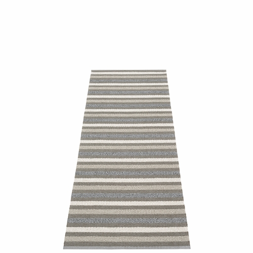 Pappelina Grace Plastic Rug - Charcoal, 2 1/4' x 6 1/2'