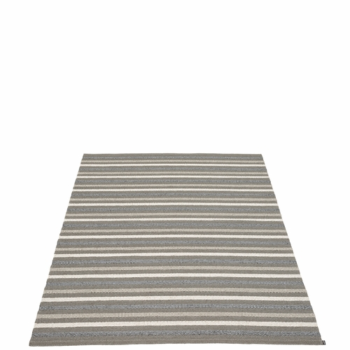 Pappelina Grace Plastic Rug - Charcoal, 6' x 8 1/2'