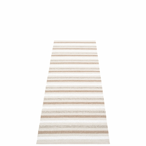 Pappelina Grace Plastic Rug - Fossil, 2 1/4' x 6 1/2'